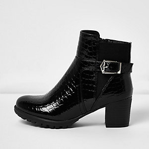 Girls black patent croc buckle boots