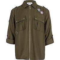 Khaki badge zip front shirt