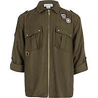 Girls khaki green badge zip front shirt