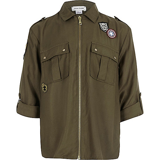 Girls khaki green badge zip front shirt
