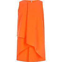 Girls orange wrap front tank top