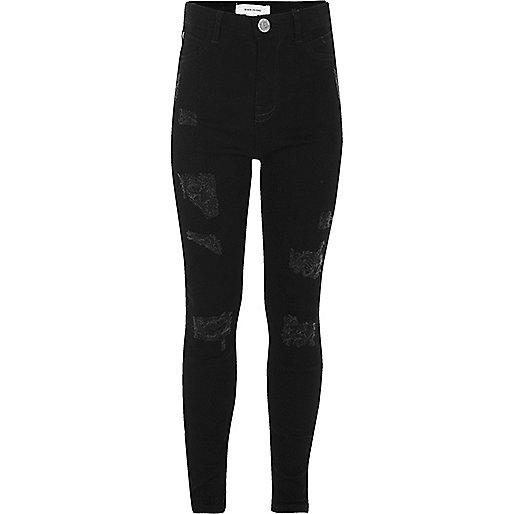 jean skinny noir d chir pour fille jeans skinny jeans fille. Black Bedroom Furniture Sets. Home Design Ideas