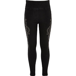 Girls black denim diamante leggings