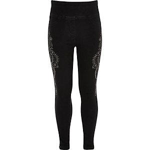 Girls black denim diamante leggings