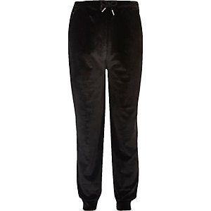 Girls black velvet joggers