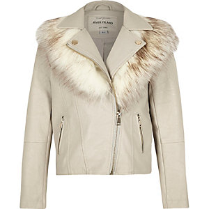 Girls grey faux fur collar biker jacket