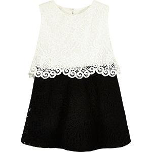 Mini girls black and white lace dress