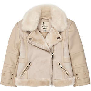 Mini girls cream shearling jacket