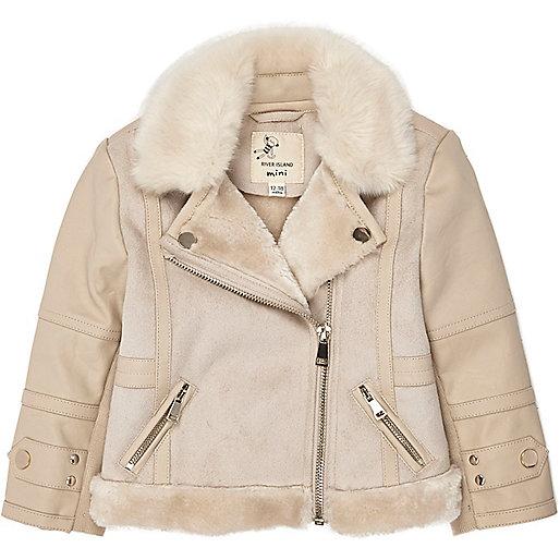 Mini girls cream shearling jacket