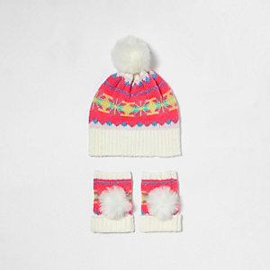 Girls cream fairisle bobble hat set