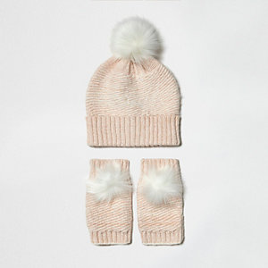 Girls pink knit bobble hat and handwarmers