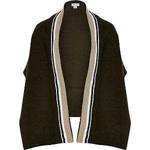 Girls khaki knit tipped cape