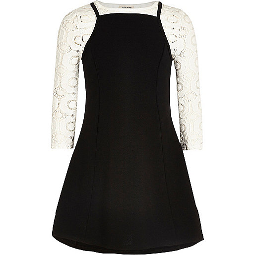 Girls black cami dress and T-shirt set