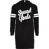 Girls black print hooded sweater dress