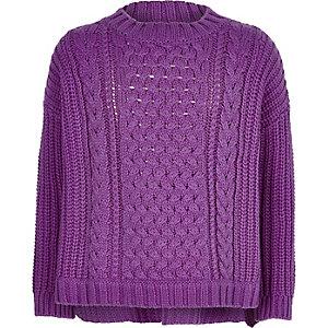Top en maille torsadée violet pour fille