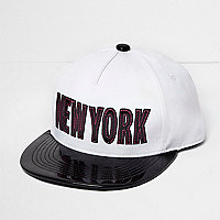 Girls white patent 'New York' cap