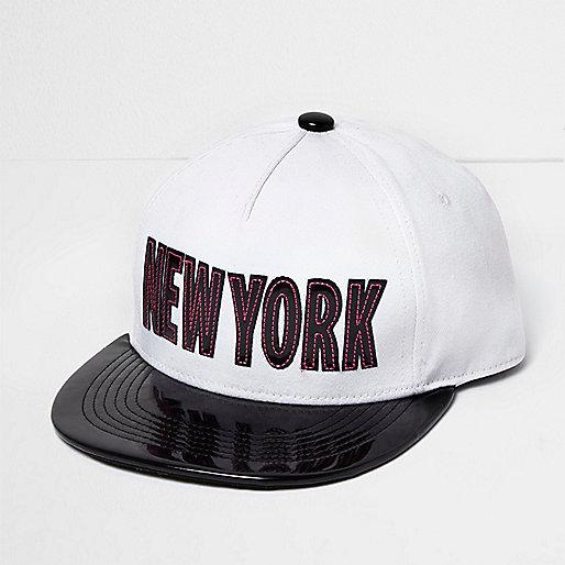 Girls white patent 'New York' cap