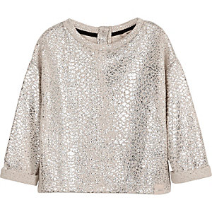 Mini girls cream metallic slouch sweatshirt
