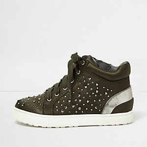 Girls khaki green rhinestone hi tops