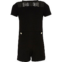 Girls black ponte lace romper