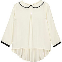 Girls white peter pan collar pleated top