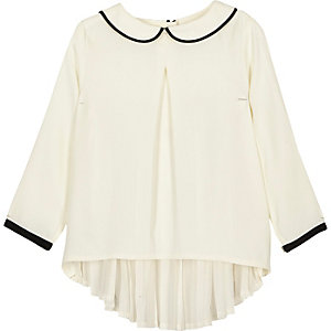 Mini girls white peter pan collar pleated top