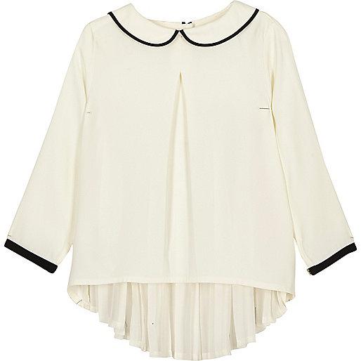 Mini girls white peter pan collar pleated top