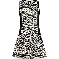 Scuba-Kleid mit tiefer Taille und Leopardenmuster
