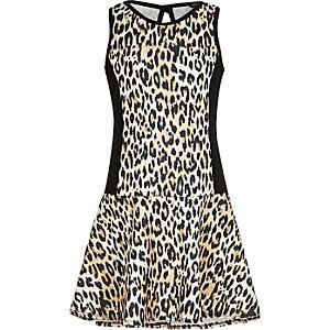 Girls drop waist leopard print scuba dress