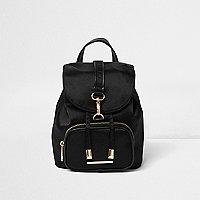 Girls black buckle backpack