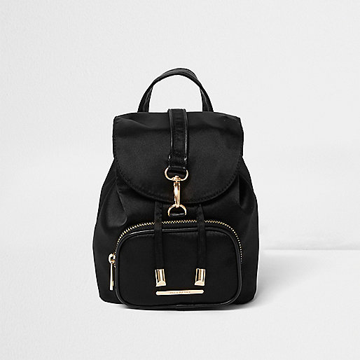 Girls black buckle backpack