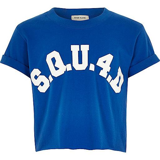 Girls blue 'squ4d' crop top