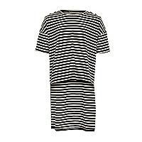 Schwarz gestreiftes T-Shirt mit Stufensaum