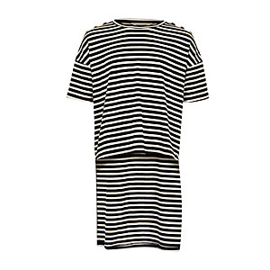 Girls black stripe high-low hem T-shirt