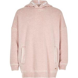 Zachtroze washed hoodie voor meisjes