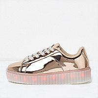 Girls rose gold LED flashing sneaker