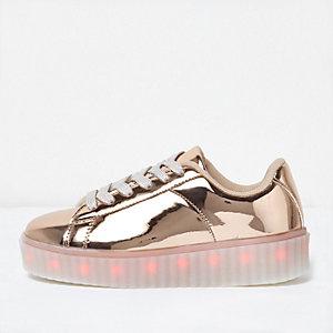 Baskets doré rose avec LED clignotantes pour fille