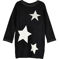 Mini girls black star knit jumper dress