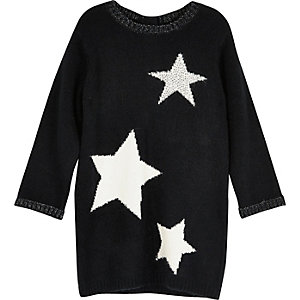 Mini girls black star knit jumper dress
