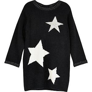 Zwarte gebreide trui-jurk met sterrenprint voor mini girls