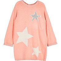 Mini girls coral pink star knit jumper dress