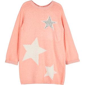 Robe pull rose corail en maille ornée d'étoiles mini fille
