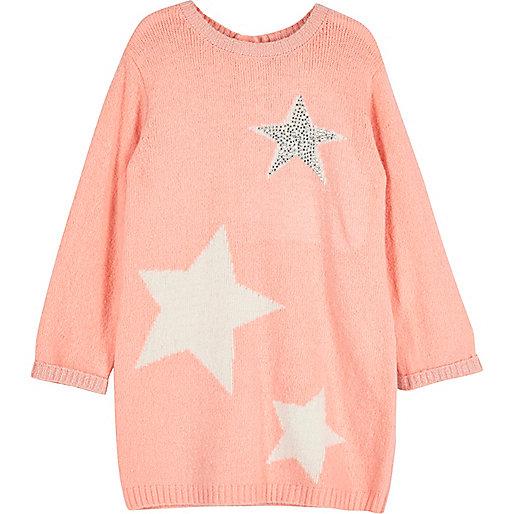 Mini girls coral pink star knit sweater dress