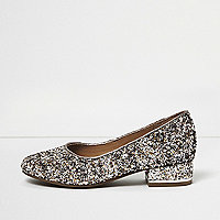 Girls silver glitter heeled ballet pumps