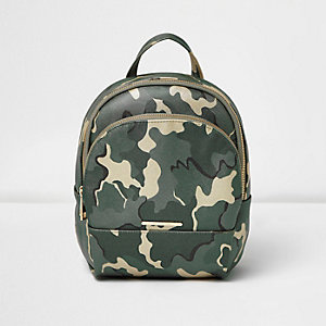 Girls green camo backpack
