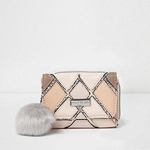 Girls cream metallic trifold purse