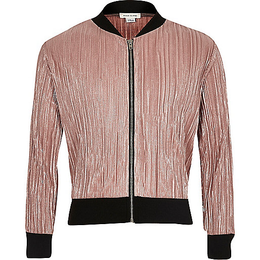 Girls metallic pink plisse bomber jacket
