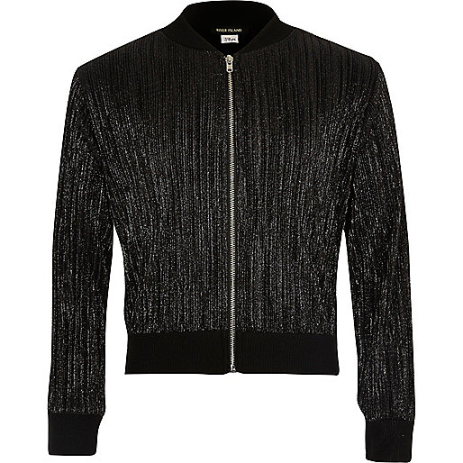 Girls metallic black plisse bomber jacket