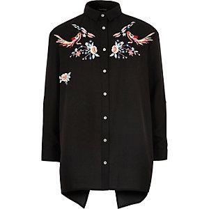 Girls black embroidered shirt