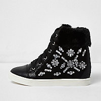 Girls black embellished wedge hi tops